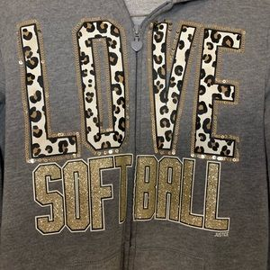 Justice Shirts & Tops - Justice Gray and Leopard Print Softball Hoodie 18